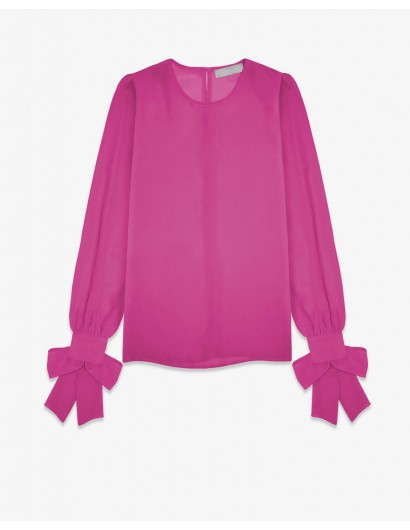 Блуза из шифона с бантами на манжетах