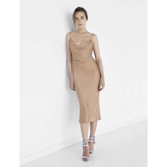 Платье миди из смесового шелка на металлических бретелях