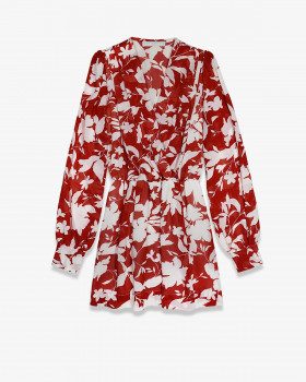 Мини-платье из принтованного шифона