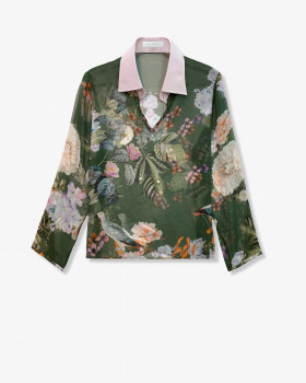 Блуза из принтованного шелкового шифона и хлопка