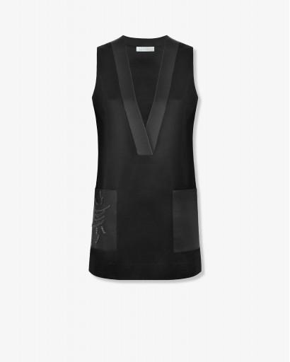 Мини-платье из атласной шерсти