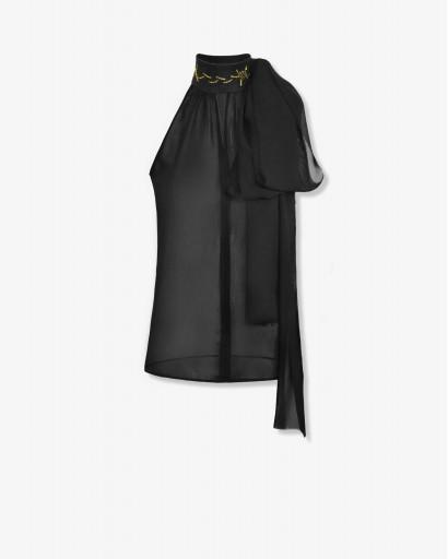 Блуза с открытыми плечами из шифона