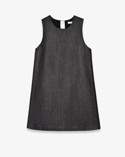 Платье А-силуэта из структурной шерсти и рафии